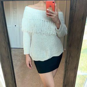 Tops - Beige off-shoulder sweater